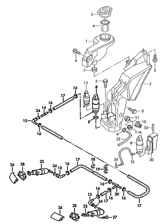 2008 audi a4 windshield washer diagram