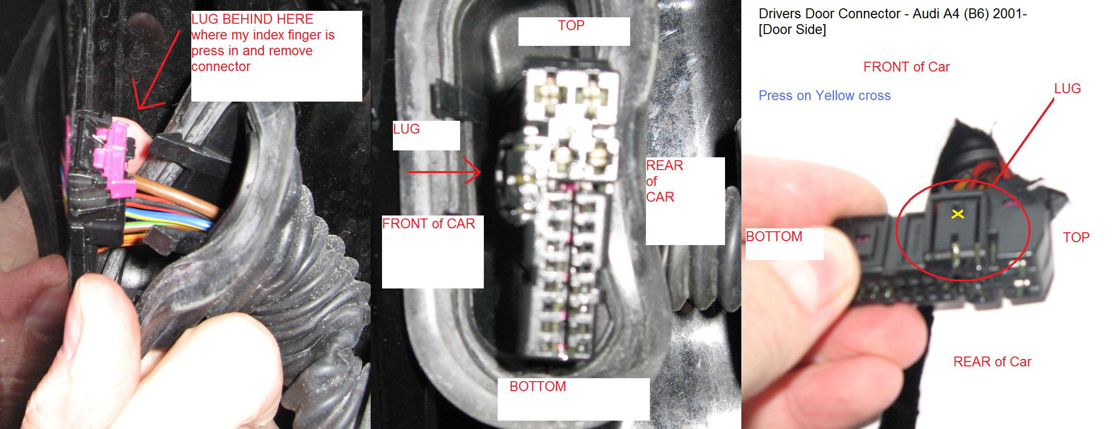 DoorConnector how do i unplug drivers door wiring loom from the car body 2003 Audi A4 Vacuum Line Diagram at bayanpartner.co