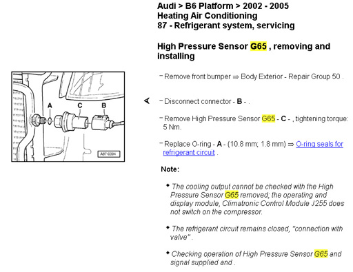 From My Workshop Manual It's Location On The 30l Sure Same For 19tdi And Removalrefitting Instructions: Audi S4 Air Conditioning Wiring Diagram At Aslink.org