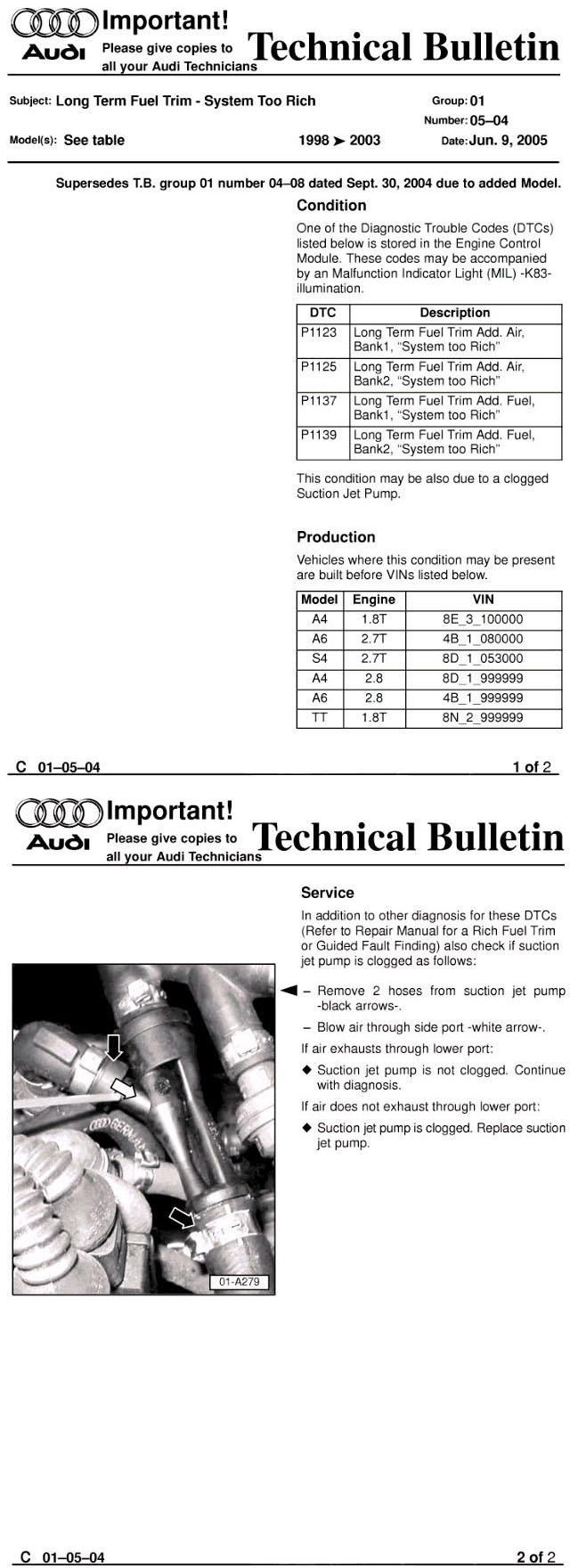 P1137 System Rich Code Audi Sport Net