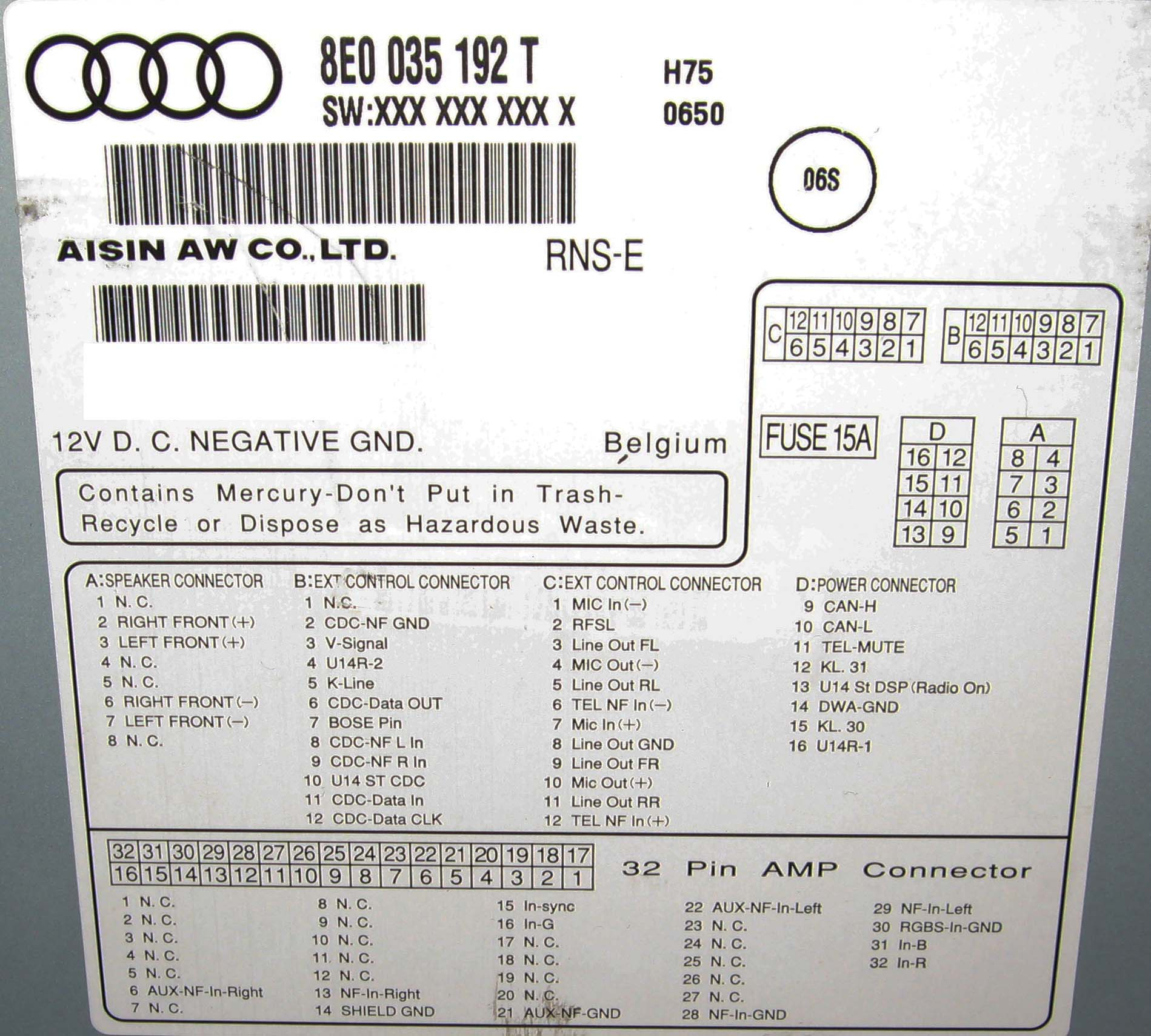 audi rns-e navigation to aftermarket amp, Wiring diagram