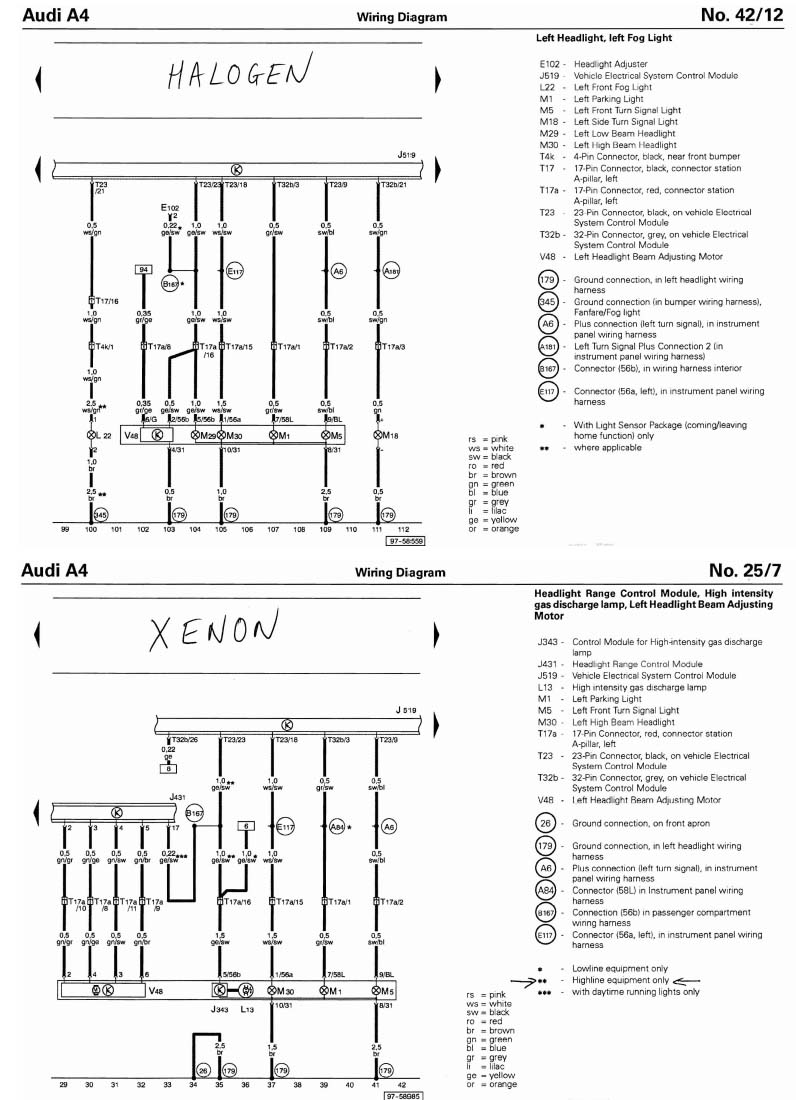 Audi A4 B6 Headlight Wiring Halogen vs Xenon retrofit oem xenon headlights audi sport net audi q5 wiring diagram pdf at bayanpartner.co